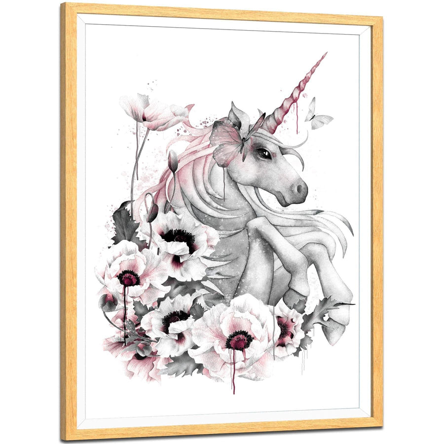 Unicorn Fantasy Framed Art Pictures Pink Grey