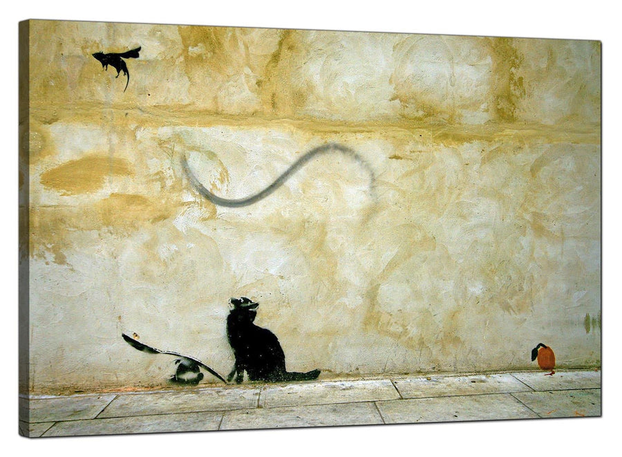Banksy Canvas Pictures - Cat and Flying Mouse - Urban Art