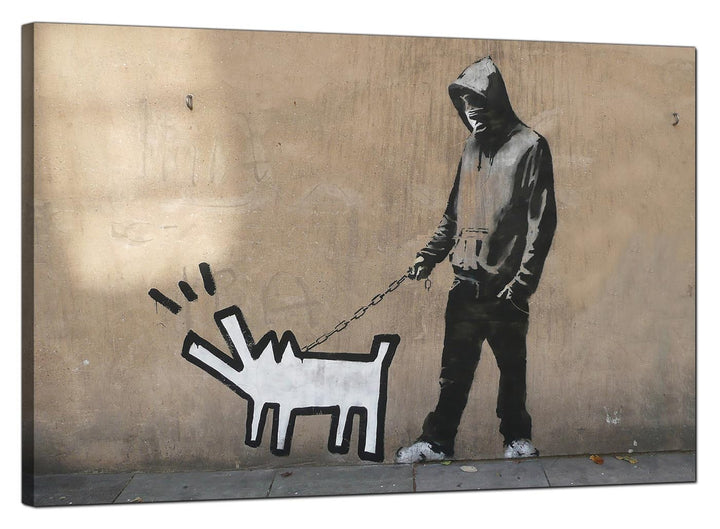 Banksy Canvas Pictures - Choose Your Weapon Man with Keith Haring Dog - Urban Art