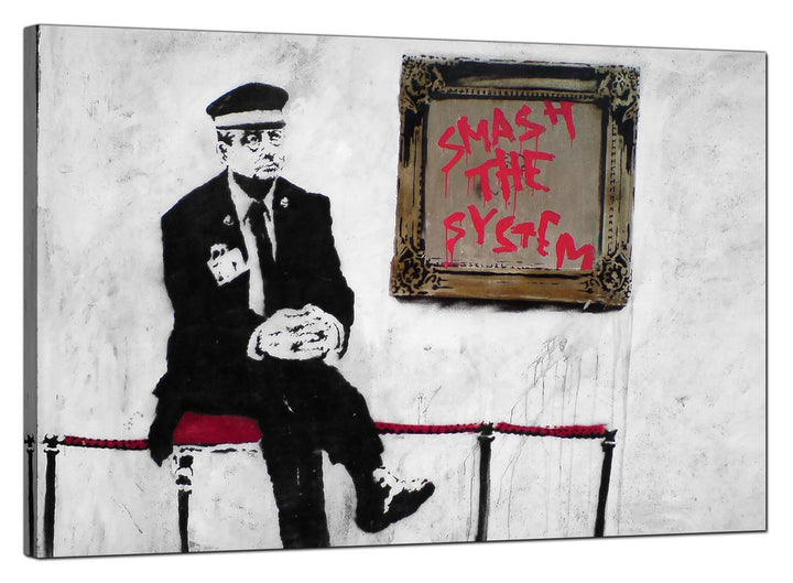 Banksy Canvas Pictures - Gallery Attendant with Smash the System Picture - Urban Art