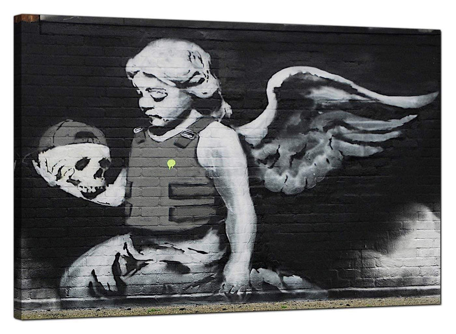 Banksy Canvas Pictures - Ozone Angel With Skull - Urban Art - Urban Art