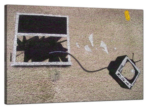 Banksy Canvas Pictures - Television Thrown Through a Smashed Window - Urban Art