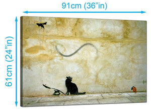 Banksy Canvas Prints UK - Cat and Flying Mouse - Graffiti Art