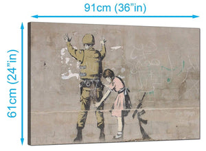 Banksy Canvas Prints UK - Girl Child Frisks a Soldier - Graffiti Art
