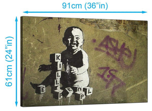 Banksy Canvas Prints UK - Kill People Baby With Building Blocks - Graffiti Art