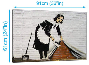Banksy Canvas Prints UK - Maid Sweeping Stuff Under The Carpet Wall - Graffiti Art