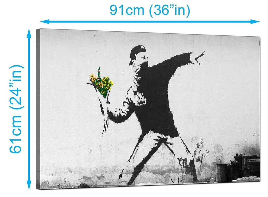 Banksy Canvas Prints UK - Rage Man Throwing Flowers - Graffiti Art