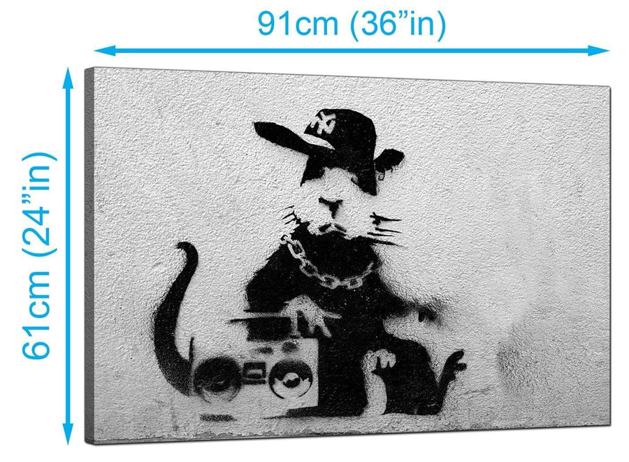 Banksy Canvas Prints UK - Rat Wearing a Baseball Cap with a Boombox Stereo - Graffiti Art