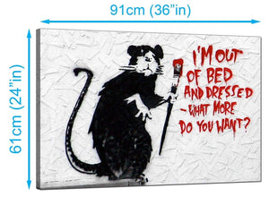 Banksy Canvas Prints UK - Rat with a Paintbrush Im Out of Bed and Dressed What More do You Want? - Graffiti Art