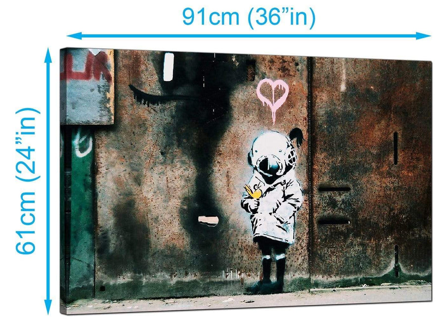 Banksy Canvas Prints UK - Space Girl With Bird - Graffiti Art