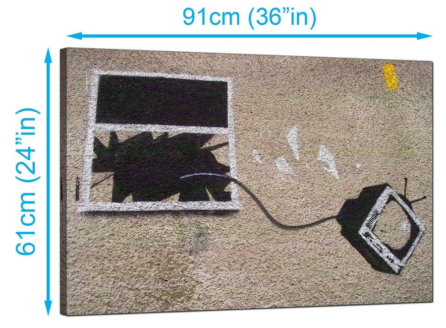 Banksy Canvas Prints UK - Television Thrown Through a Smashed Window - Graffiti Art