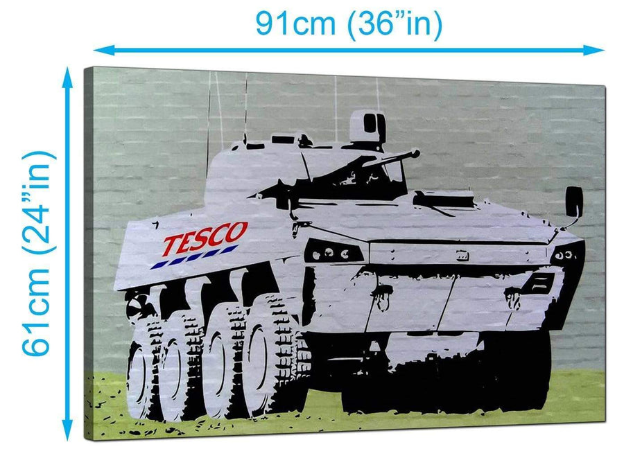 Banksy Canvas Prints UK - Tesco Tank Eight Wheel Armoured Car - Graffiti Art