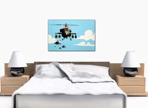 Banksy Canvas Prints - Happy Choppers Pink Ribbon Helicopter Gunships - Art Work