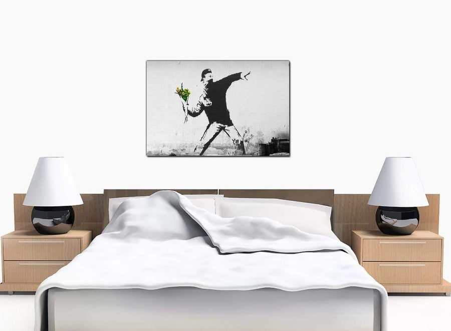 Banksy Canvas Prints - Rage Man Throwing Flowers - Palestine