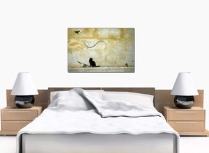 Banksy Canvas Prints - Cat and Flying Mouse