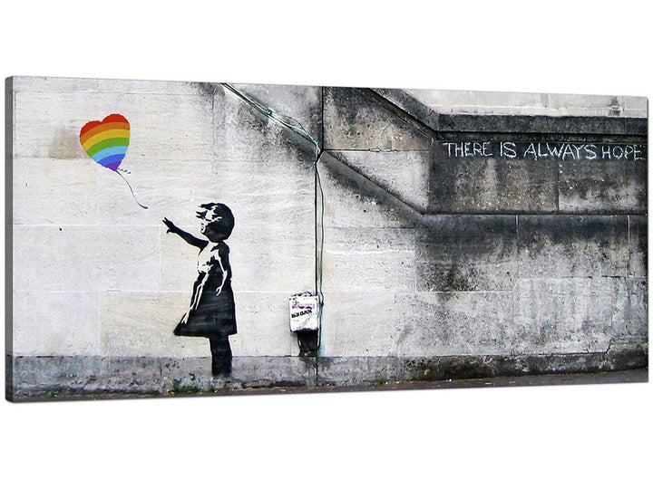 "Large Canvas Prints of Banksy's ""Girl with the Rainbow Balloon"" for your Dining Room - Graffiti Wall Art"