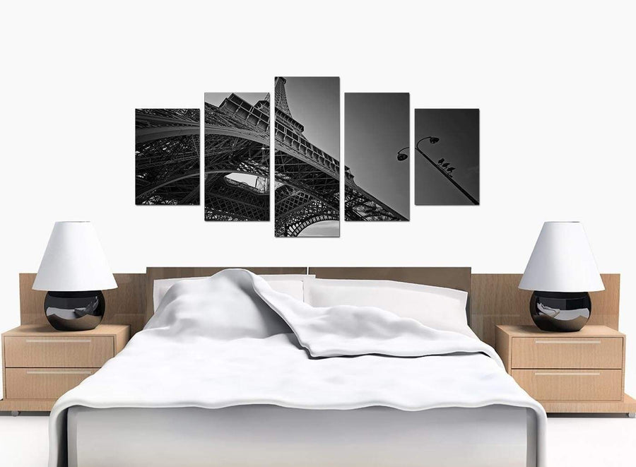 Five Panel Set of Modern Black White Canvas Prints