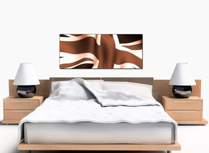 Union Jack Bedroom Brown Canvas Picture