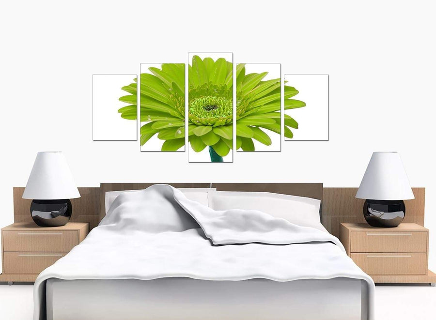 5 Panel Set of Large Lime Green Canvas Wall Art