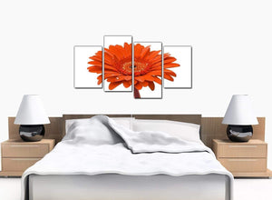 Set Of Four Bedroom Orange Canvas Wall Art