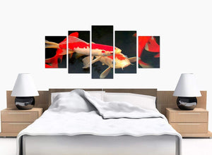 Set Of Five Bedroom Red Canvas Prints