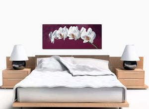 Floral White Bedroom Plum Canvas Picture