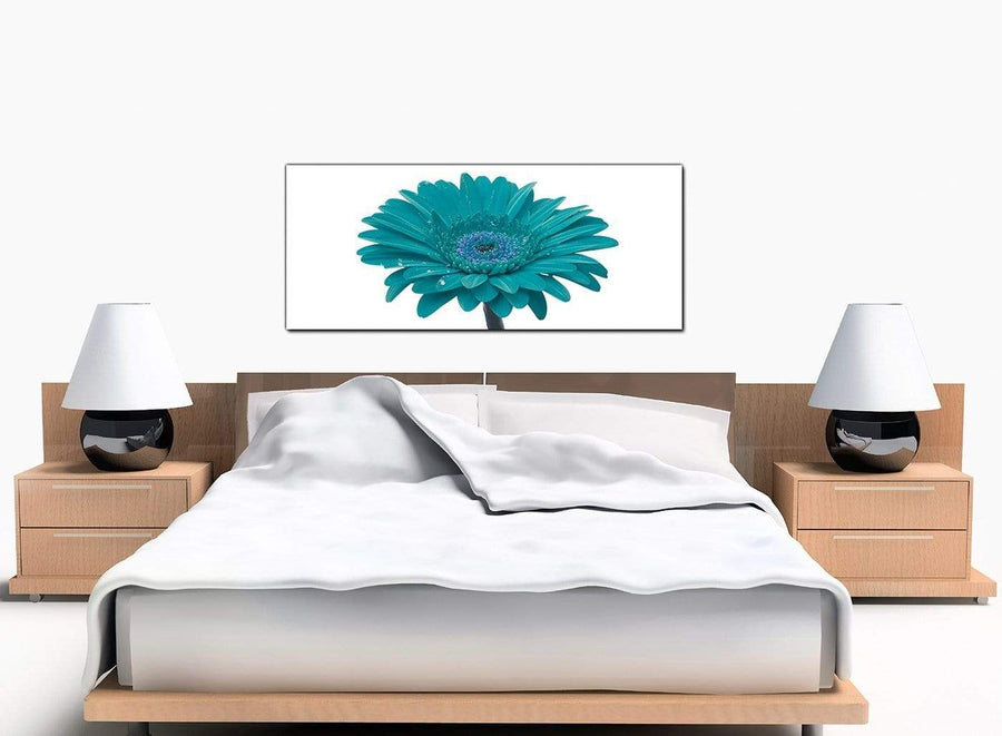 Gerbera Floral Modern Teal Canvas Art