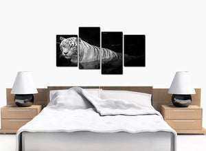 4 Part Set of Bedroom Black White Canvas Prints