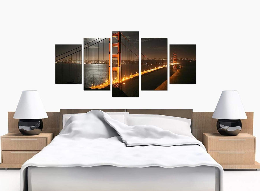 5 Panel Set of Extra-Large Black White Canvas Pictures