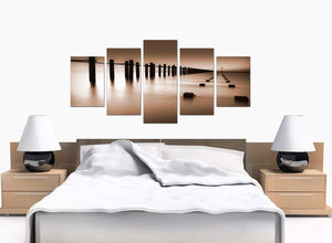 5 Piece Set of Bedroom Brown Canvas Picture