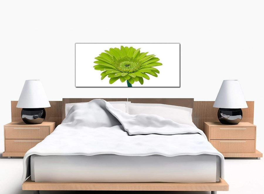 Gerbera Floral Bedroom Lime Green Canvas Prints