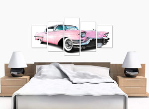 5 Panel Set of Bedroom Pink Canvas Wall Art