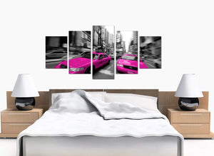 5 Piece Set of Large Pink Canvas Wall Art
