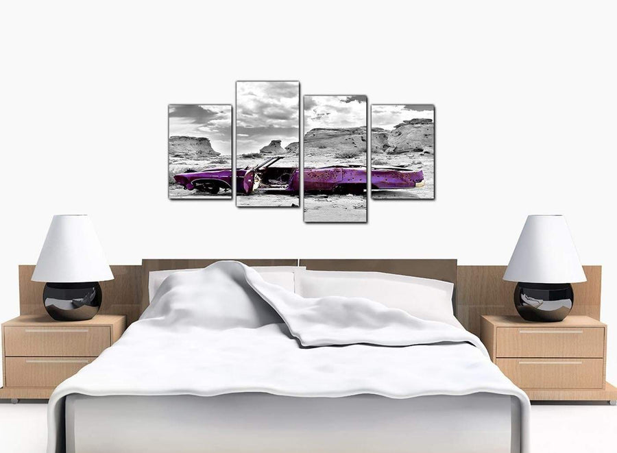 4 Panel Set of Extra-Large Purple Canvas Pictures