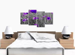 Set Of Four Bedroom Purple Canvas Picture