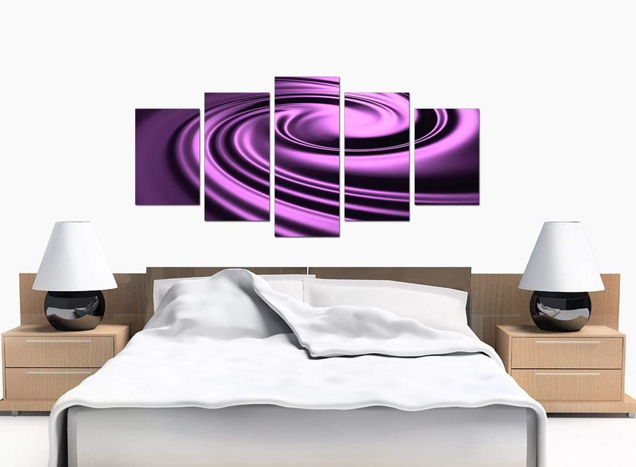 5 Piece Set of Bedroom Purple Canvas Prints