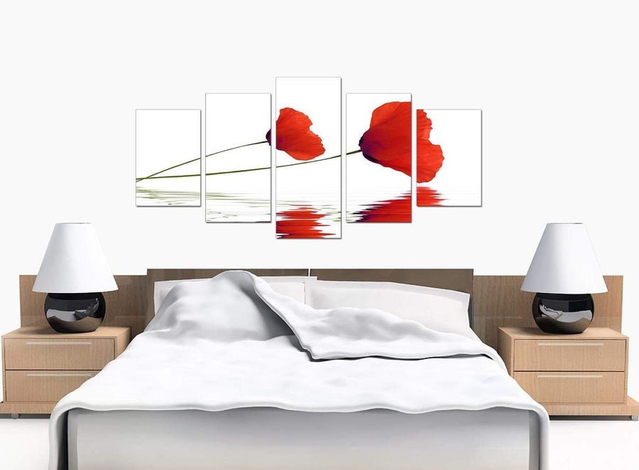 5 Panel Set of Bedroom Red Canvas Wall Art