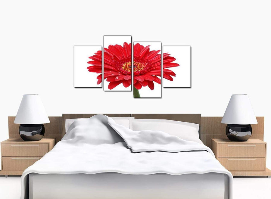 4 Piece Set of Bedroom Red Canvas Prints