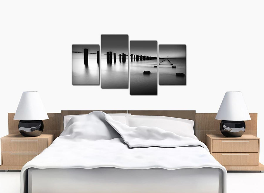 4 Piece Set of Large Black White Canvas Wall Art