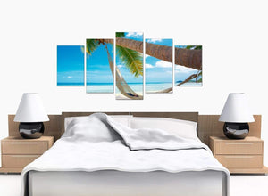 Set Of Five Large Blue Canvas Art