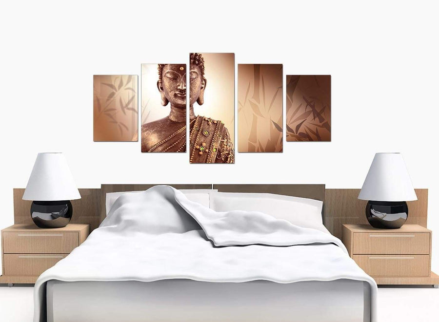 Set Of 5 Bedroom Brown Canvas Prints