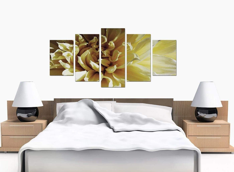 Five Part Set of Extra-Large Cream Canvas Wall Art