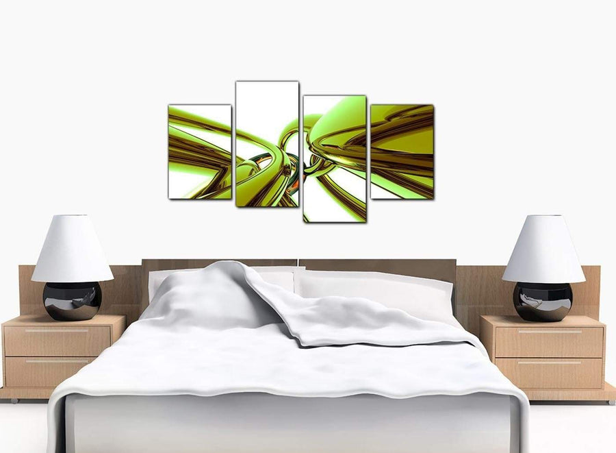 Set Of Four Bedroom Lime Green Canvas Pictures