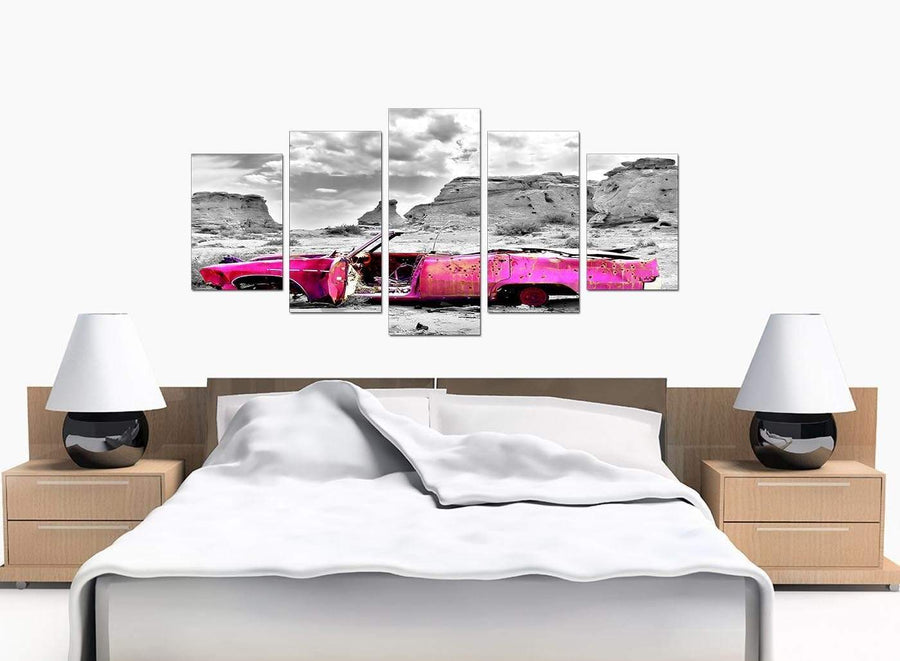 Five Part Set of Bedroom Pink Canvas Pictures