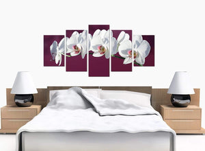 Five Panel Set of Bedroom Plum Canvas Prints