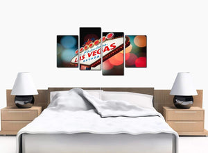 4 Part Set of Bedroom Red Canvas Prints