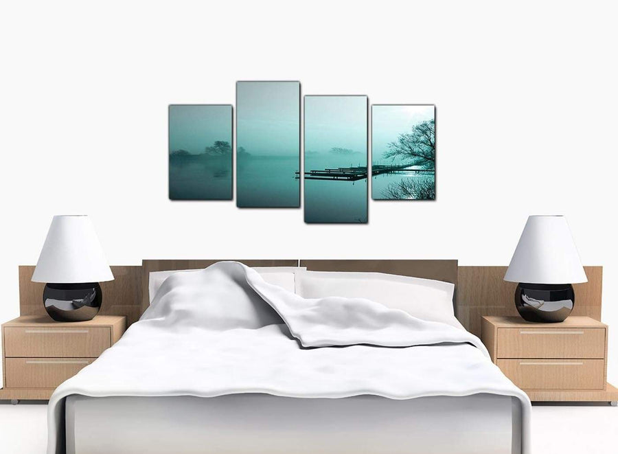 Set Of 4 Bedroom Teal Canvas Picture