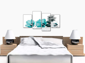 Four Panel Set of Bedroom Teal Canvas Picture