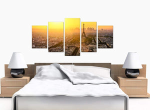 Five Panel Set of Bedroom Yellow Canvas Art