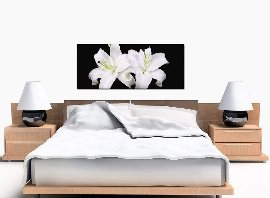 Lily Floral Extra-Large Black and White Canvas Picture